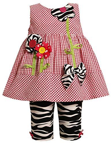 Bonnie Jean Baby 3M-24M Zebra Animal-Print Flower Stem Applique Legging Set (3-6 Months, Fuchsia) ()