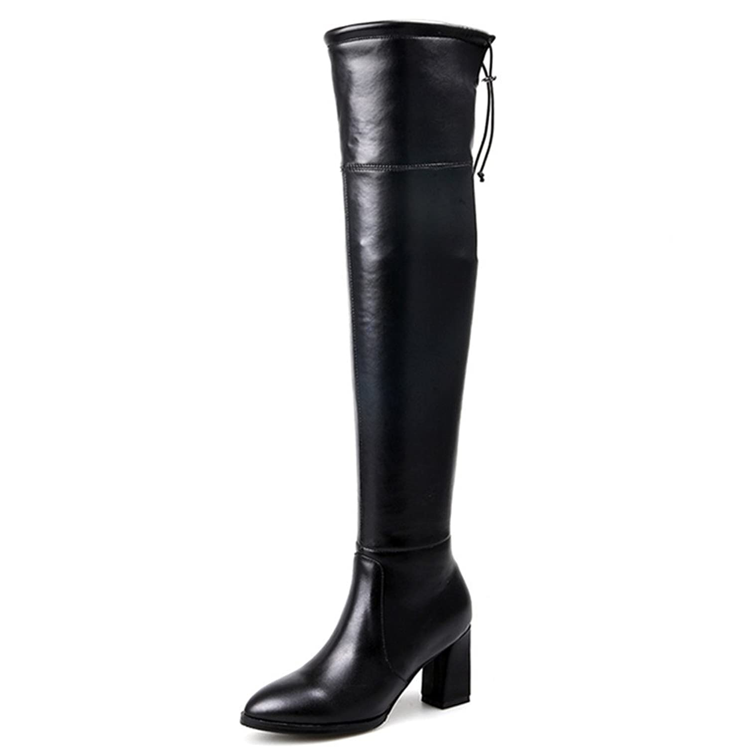 Women's Handmade Thigh High Over The Knee Chunky Heel Boots