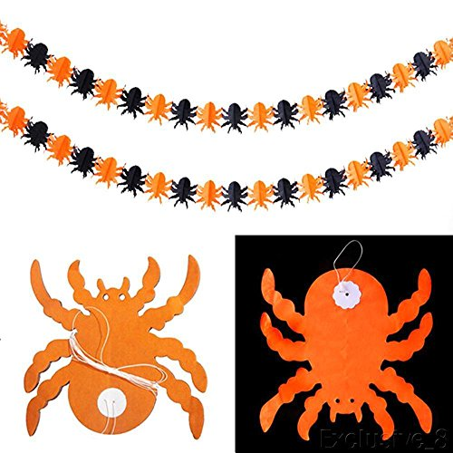 [SPIDER] Spider Pumpkin Scary Witch Garland Halloween paper Decoration Haunted House Prop (Womens Hat 1960's Accessories Medium)