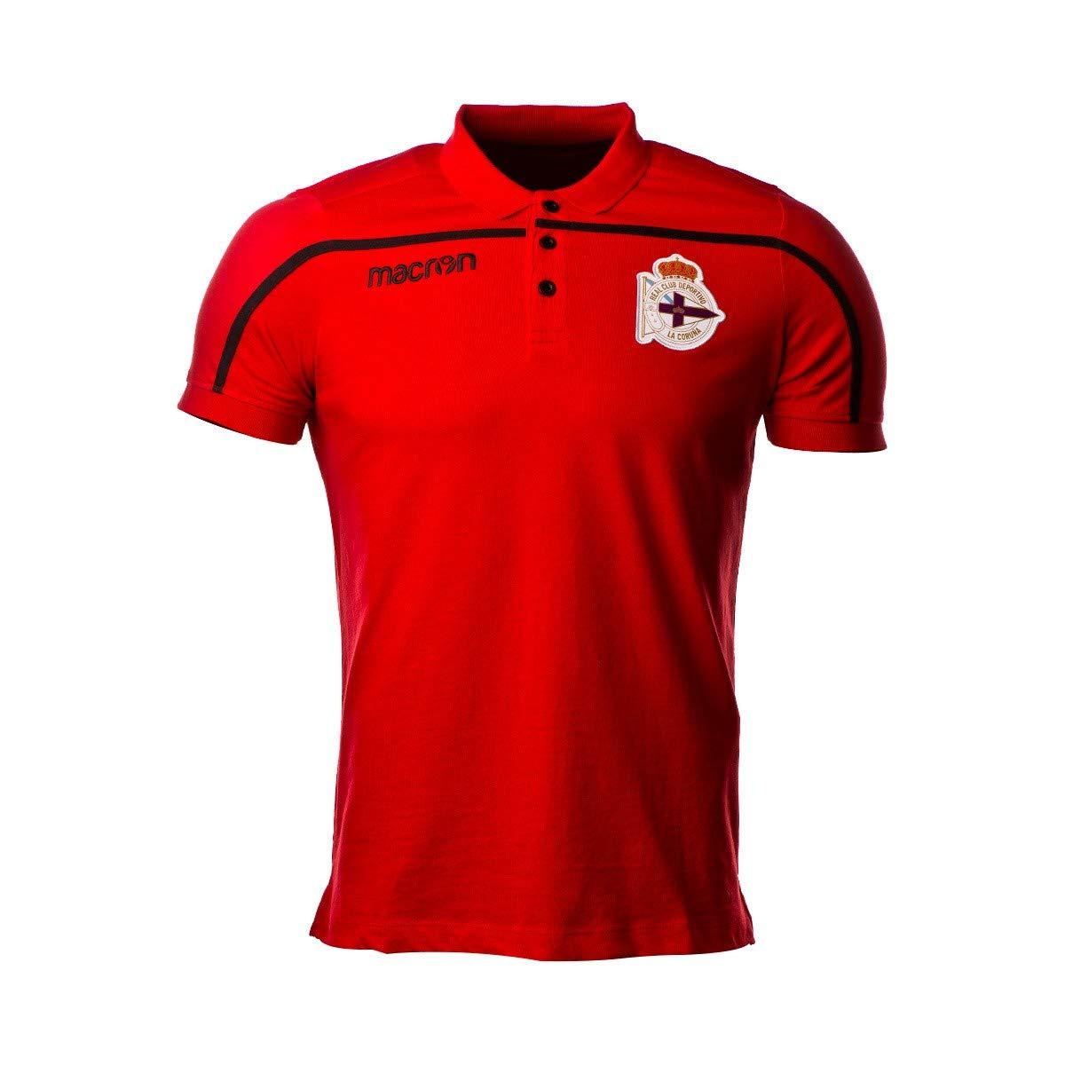 Macron RC Deportivo La Coruña 2018-2019, Polo, Red-Black
