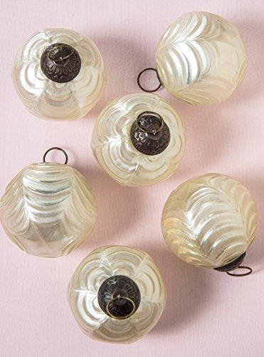 Luna Bazaar Large Mercury Glass Ornaments (Nola Design, Wave Ball Motif, 3-Inch, Pearl White, Set of 6) - Vintage-Style Decorations ()
