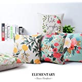 ELEMENTARY Fine Cotton Canvas Floral Design Decorative Throw Cushion Covers (16x16 inches, Multicolour) -Set of 5