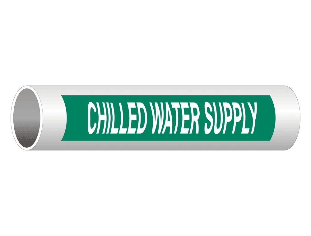 LegendChilled Water Return Pack of 25 9 Length x 1 Height White on Green Pressure Sensitive Vinyl NMC B1047G Pipemarkers Sign 3//4 Letter Size