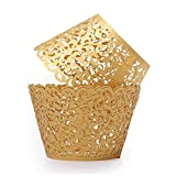 Filigree Artistic Hollow Out Bake Cake Paper Cups Little Vine Lace Laser Cut Liner Cupcake Wrappers Baking Cup Muffin Holder Case for Wedding/Birthday/Afternoon Tea Party Decoration (50, Gold)