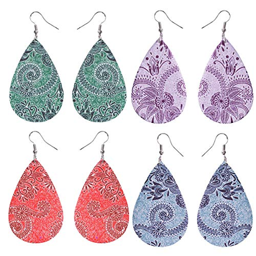 (Bohemia Vintage Leather Teardrop Leaf Dangle Pierced Earrings Jewelry (4 Pair 4 Color))