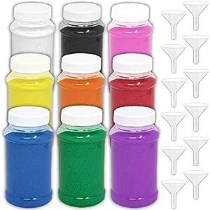 HeroFiber Craft Sand Art [12 Pounds] — 9 Bottles (22 oz. ea.) Fun Colorful Sand + 12 Funnels — Decorative Scenic Rainbow Sand for Kids' Play, Unity, Wedding, Vase Filling