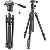 Neewer Alluminum Alloy 62 inches/158 centimeters Camera Tripod with 360 Degree Ball Head,Fluid Video Head,1/4 inch Quick Shoe Plate for DSLR Camera,Video Camcorder,Load up to 17.6 pounds/8 kilograms