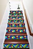 3D Colorful Shape Art 897 Stair Risers Decoration Photo Mural Vinyl Decal Wallpaper Murals Wallpaper Mural US (15x H:18cm x W:102cm (7''x40''))