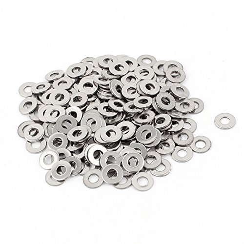 uxcell a15090700ux0160 200pcs 304 Stainless Steel M3 Flat Washers Spacers Gasket Silver Tone Pack of 200