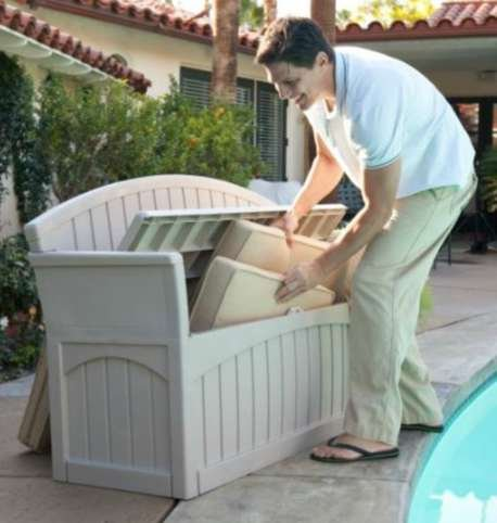 Outdoor Storage Bench, Patio - 50 Gal., Resin, Light Taupe by Premium (Image #3)