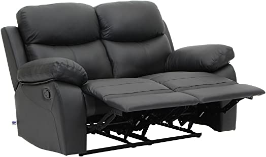 VH FURNITURE Sofa Recliner Loveseat in Top Grain Leather Classical Design Black