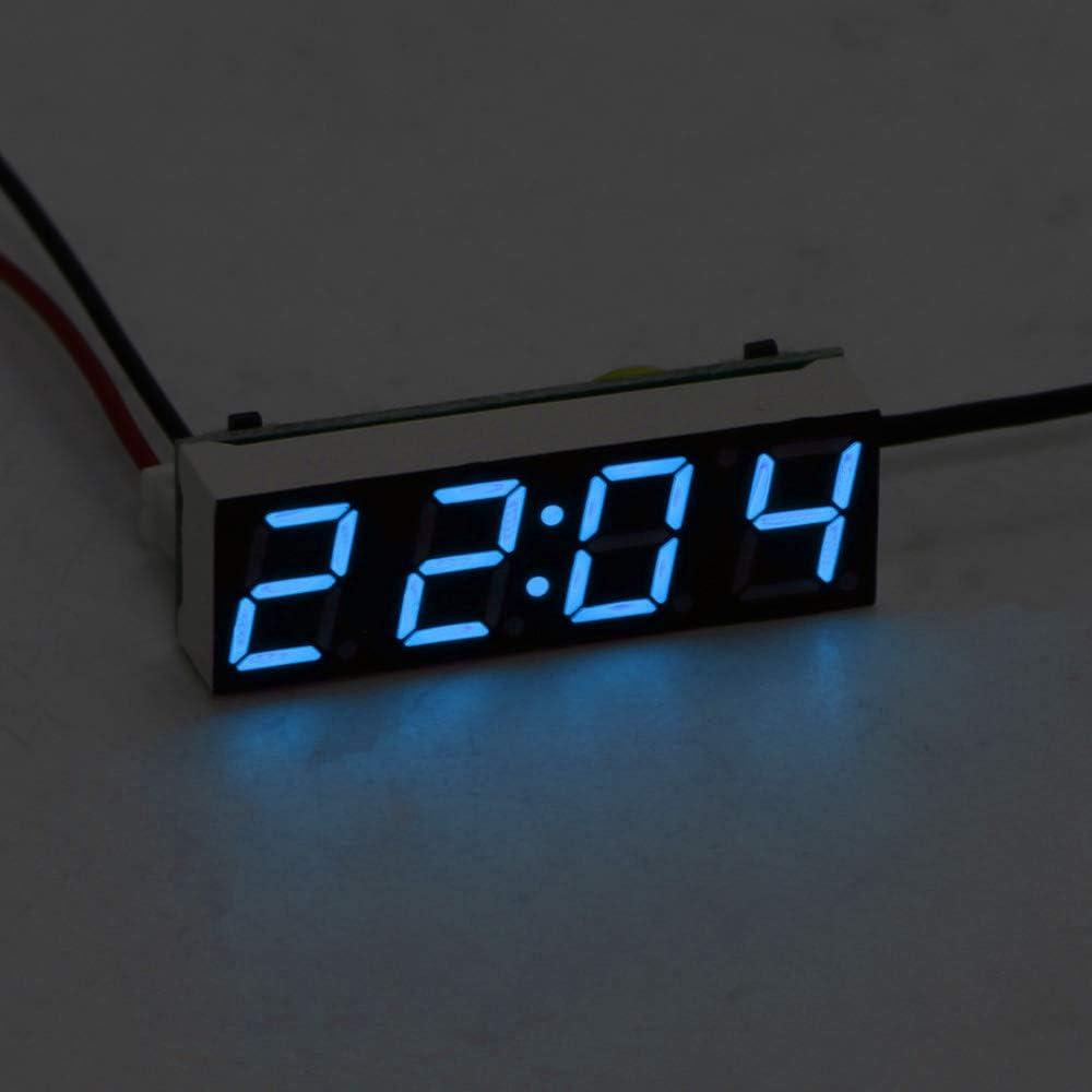 Gr/ün optional Digital Timer LED-Temperatur-Digital-Uhr Rot-Licht Blau Auto elektrische Uhr Blau