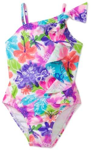 Flapdoodles Little Girls' Watercolor Floral One Piece Suit, Floral Print, 4T