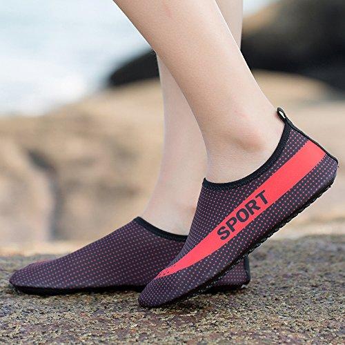 Plage de Aqua Nautique Shoes Antidérapant Rapide Hommes Slip Séchage Plongée Respirant Water Chaussures Rouge Femmes de Unisex Sport On Eagsouni Chaussures Léger twX60nqq