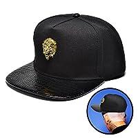 NUKI Unisex 3d Metal Stud Adjustable Flat Bill Snapback Baseball Punk Cap Hat[Black]