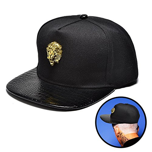 NUKI Unisex 3d Metal Stud Adjustable Flat Bill Snapback Baseball Punk Cap Hat[Black]