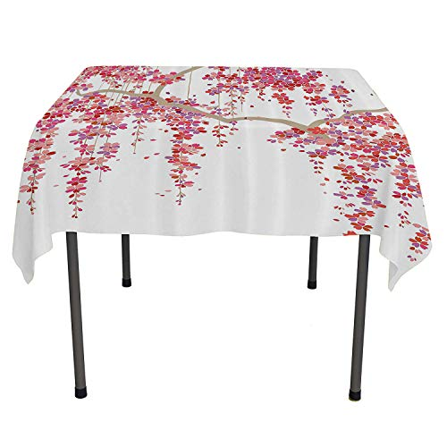 House Decor Collection top Quality tablecloths Cherry Blossom Trees Branch Springtime Happy Vacation Traveling Destinations Image wayerproof Table Cloth Spring/Summer/Party/Picnic 50 by 80