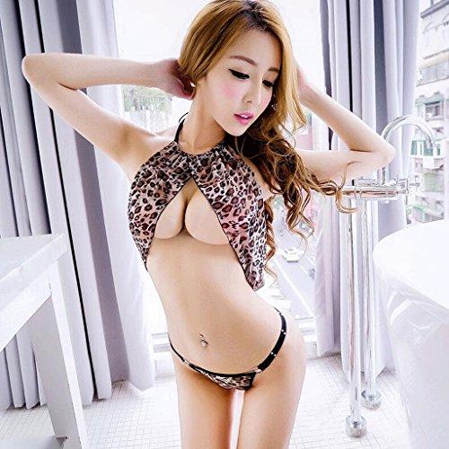 FLH Atractiva ropa interior tentación transparente tanga conjunto conjunto conjunto leopardo de tres puntos de estilo erogeno