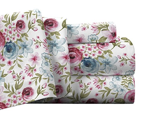 "Pointehaven Flannel Deep Pocket Set with Oversized Flat Sheet, King, Sylvan - 100% Cotton, Super Heavy Weight 175 GSM / 5.16 oz. cotton flannel is made from single-ply yarns for soft and durable sheets King sheet set includes: 1 flat sheet: 110"" width x 104"" length, 1 fitted sheet: 78"" width x 80"" length , and 2 king pillow cases: 21"" width x 41"" length - sheet-sets, bedroom-sheets-comforters, bedroom - 51wftg%2BCLSL -"