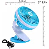 Battery Operated Fan Personal Fan Clip On Fan For Car Baby Stroller Traveling Hiking Fishing Camping (Blue)