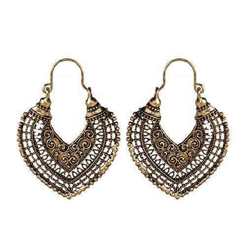 Antique Hollow Love Heart Hoop Earrings Vintage Engraved Pattern Peach Heart Dangle Earrings Jewelry for Women Girls (Bronze) ()