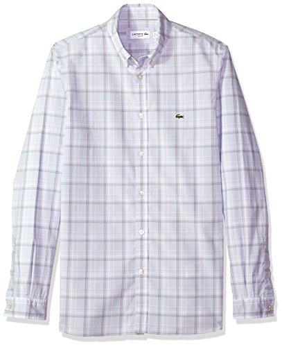 Lacoste Mens Long Sleeve Poplin Med Check Button Down Collar Slim Woven Shirt, CH5006