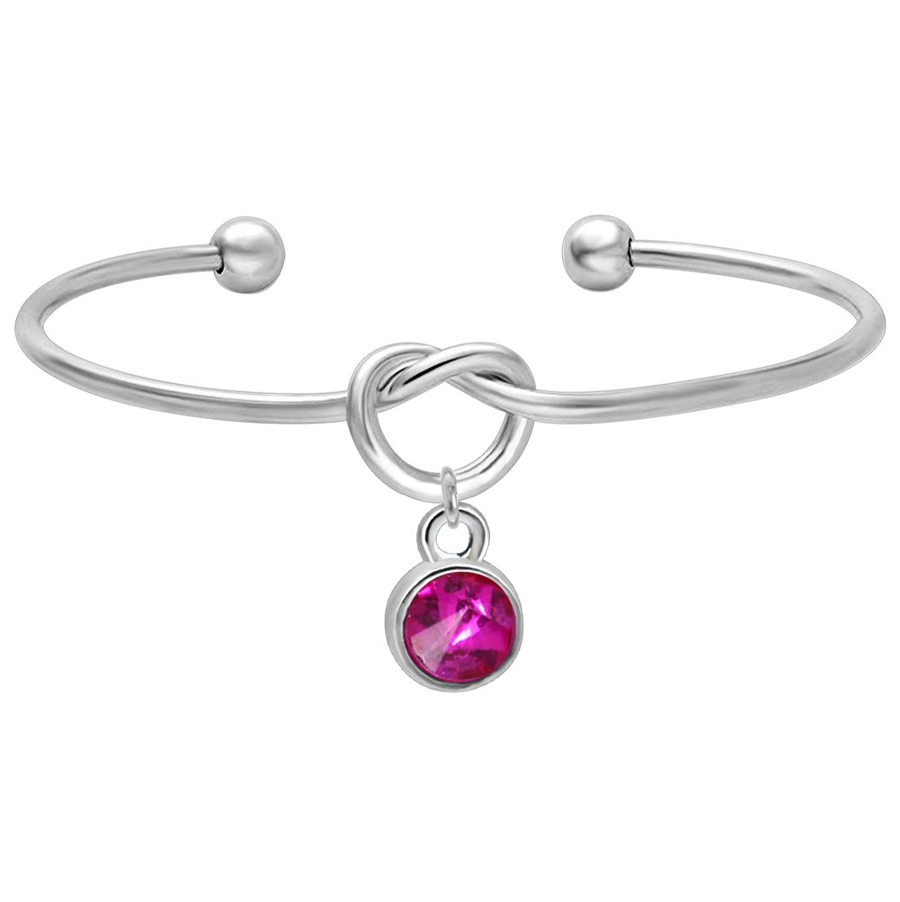 Feelmem Tie The Knot Simulated Birthstone Personalized Charms Cuff Bracelet -Birth Month Crystal October Birthstone Charm Bangle- Bridesmaid Gifts- Maid of Honor Gift(OCT)