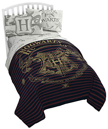 Jay Franco Harry Potter Spellbound 5 Piece Full Bed Set - Includes Reversible Comforter & Sheet Set - Bedding Features Hogwarts Logo - Super Soft Polyester (Official Harry Potter Product)