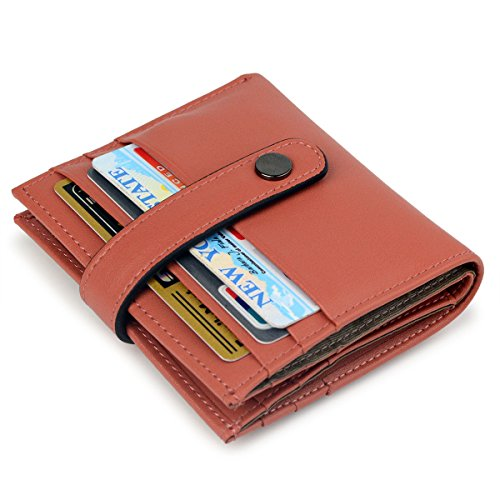 Women's RFID Blocking Small Compact Bifold Leather Pocket Credit Card Wallet Ladies Mini Purse (Orange Red) by Bveyzi