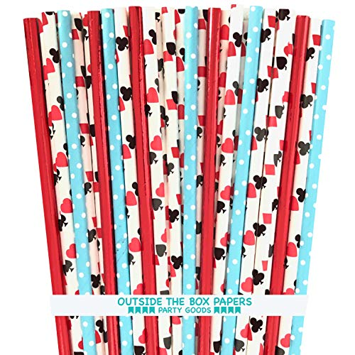 Alice in Wonderland Theme Paper Straws - Card Design Red Foil Light Blue Dot - 7.75 Inches - 100 Pack -