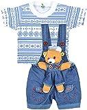 kuchipoo Unisex Regular Fit Cotton Dungaree (KUC-DUN-101_6 Months - 1 Years_Blue & White)