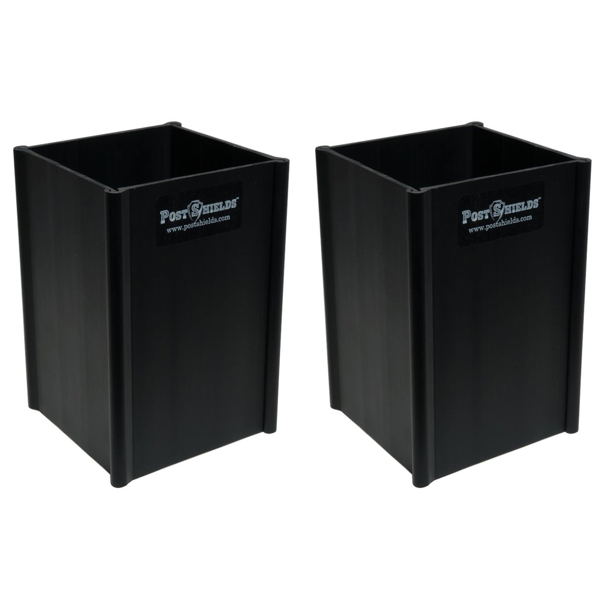 Pack of 2 - Post Shields 4'' x 4'' x 6'' (FITS 3.5'' x 3.5'' POSTS) - Black - Fence Post Protection from Grass Trimmers