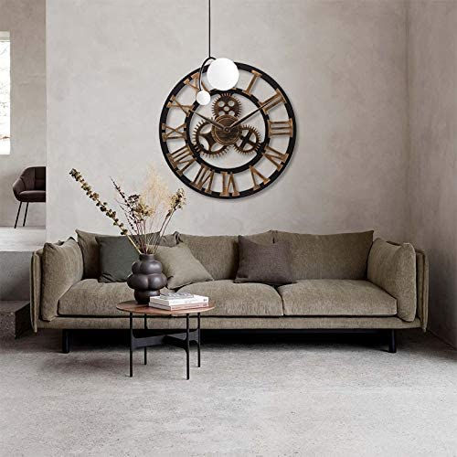 Lafocuse Large Industrial Gear Wall Clock Gold Roman Numerals Open Face Quartz Clock