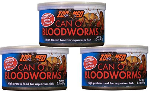 Food Bloodworms Fish (Zoo Med Can O Bloodworms: 3.2 oz (3 Pack))