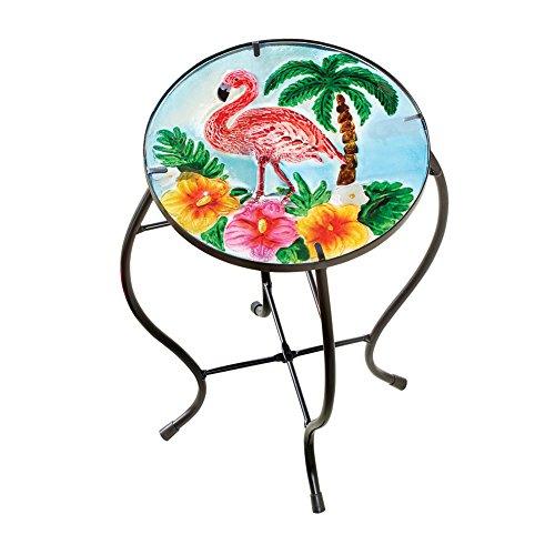 Cheap  Collections Etc Tropical Flamingo Outdoor Home Décor Round Garden Accent Side Table
