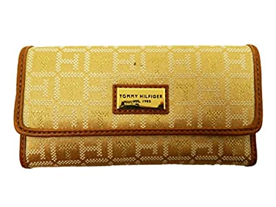 Tommy Hilfiger Womens Continental Checkbook Wallet Clutch (White/Gold Dot Logo)