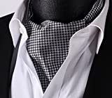 SetSense Mens Plaid Houndstooth Jacquard Woven Self Cravat Tie Ascot