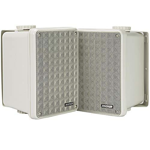 Kicker KB6 2-Way Full Range Indoor Outdoor Speakers (Pair) | Weatherproof Speakers for Patio Sunroom Garage Poolside in-Home | 6.5 inch woofer, 2x5 inch Horn Tweeter | Quick Mounting System (Tv In Sunroom)