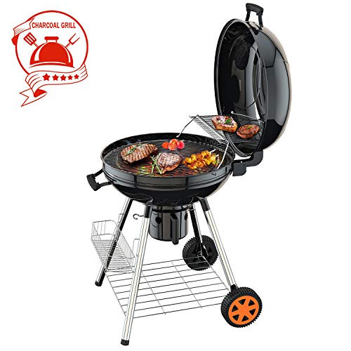 TACKLIFE Charcoal Grill, 22.5 Inch Smoker, 2 Grill, 0.8MM Steel, 170MM Wheel, 32MM Support Leg, Thermometer and Warming Grid, Quick Installation with Screws, Ash Leak Clean System, 5-12 people-HXCG03A