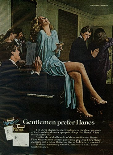 Drink champagne sitting on piano Gentlemen prefer Hanes pantyhose ad 1979 (Pantyhose Champagne)
