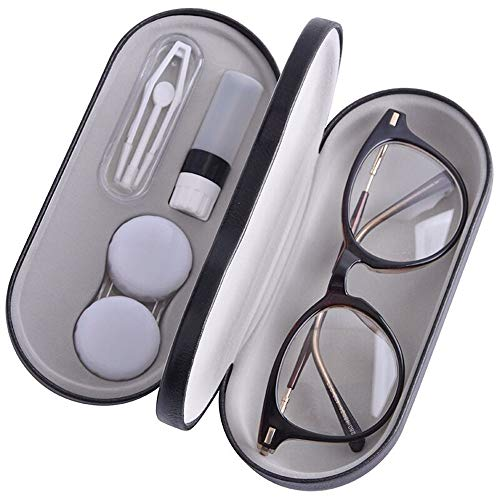 Contact Lens Case - 2 in 1 Double Sided Portable Glasses Case - Mirror - Tweezers and Applicator Included - Perfect for Home Travel-Black