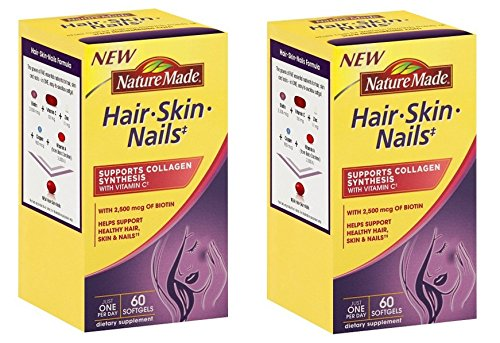 Nature Made Hair Skin Nails With Biotin Softgel 2500 Mcg 60 Count Pack Of 2