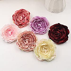 Artificial Flower 5pcs 9cm Real Touch Silk Peony Flower Head Simulation DIY Wedding Family Party Decoration Clip 58