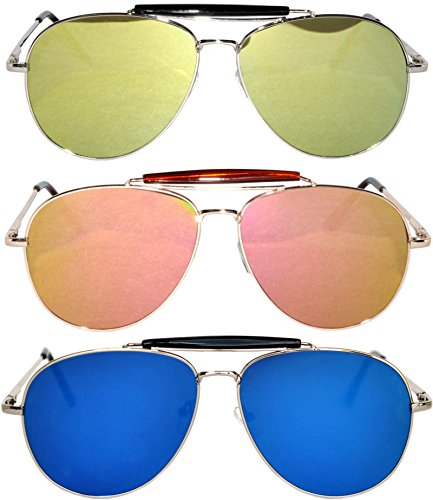 3 Pack Aviator Brow Bar Sunglasses UV Protection Color Lens Metal Frame Unisex (Flat-063-C6-C7-C9, - C9 Colours