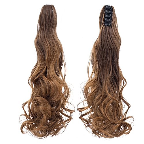 SWACC Long Curly Ombre Color Claw Clip Ponytail Extension Synthetic Clip in Ponytail Hairpiece Jaw Clip Hair Extensions (Brown Two-Tone) - Pony Braids Yaki