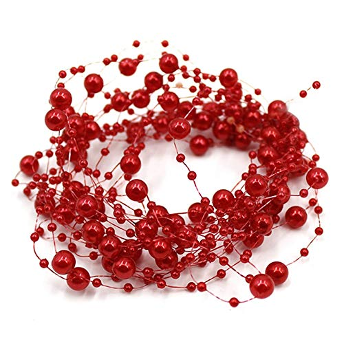 Garland Pearl - 5 Meters Fishing Line Artificial Pearls Beads Chain Garland Flowers Wedding Party Decoration Red - Cluth Rings Gown Photography Necklace Plus Party Gifts Shoes Arch -