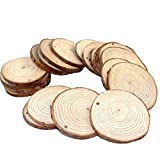 "Fuhaieec Wood Slices 2.8-3.2"" (7-8cm) Natural Wood Slices Unfinished Predrilled Round Discs Tree Bark Wooden Circles for DIY Crafts Christmas Rustic Wedding Ornaments (20pcs)"