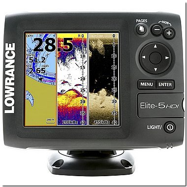 Lowrance Elite-5 HDI :: 83/200 455/800 Transducer :> Wide Beam Sonar with Down Imaging ()