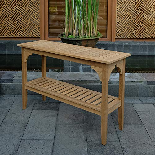 Cambridge-Casual Solid Teak Wood Auburn Outdoor Console Table, Natural