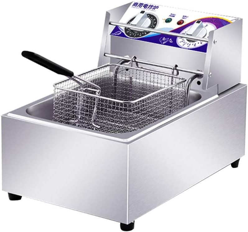 ALUS- Large Deep Fryer With Dual Basket, Electric Fryer With Thermostats, Stainless Steel, For Home And Commercial